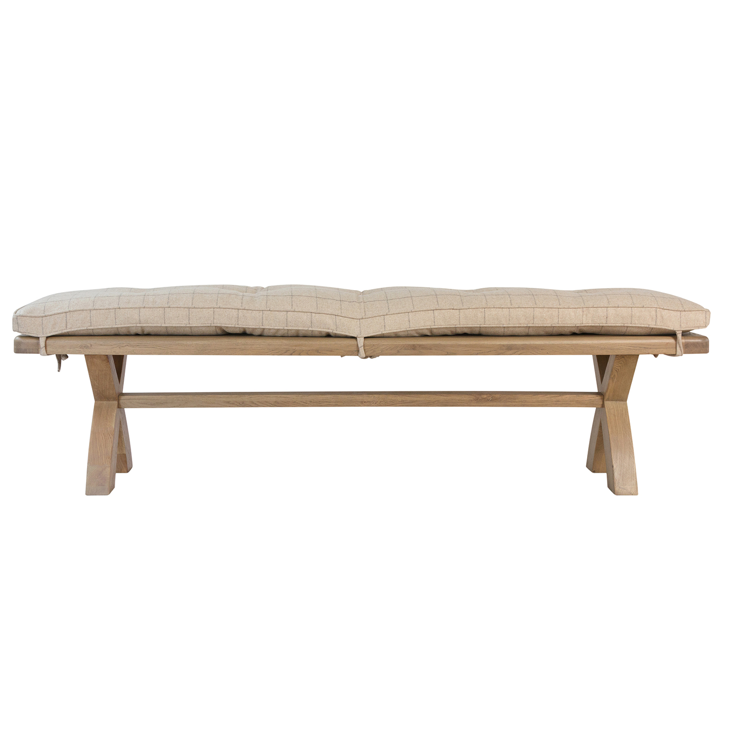 Heritage Oak Bench - Natural Check Cushion Only