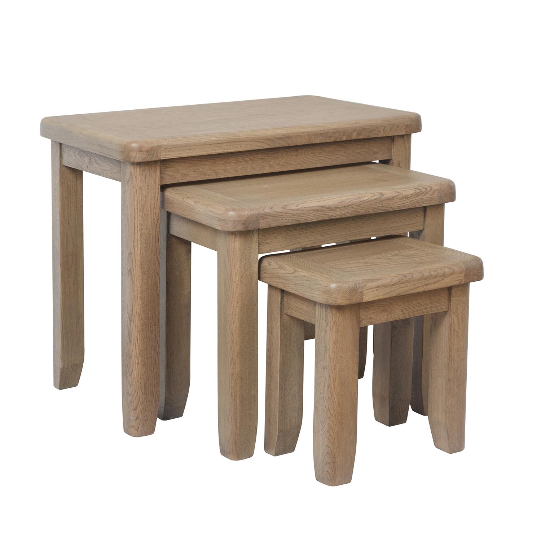 Heritage Oak Nest of 3 Tables
