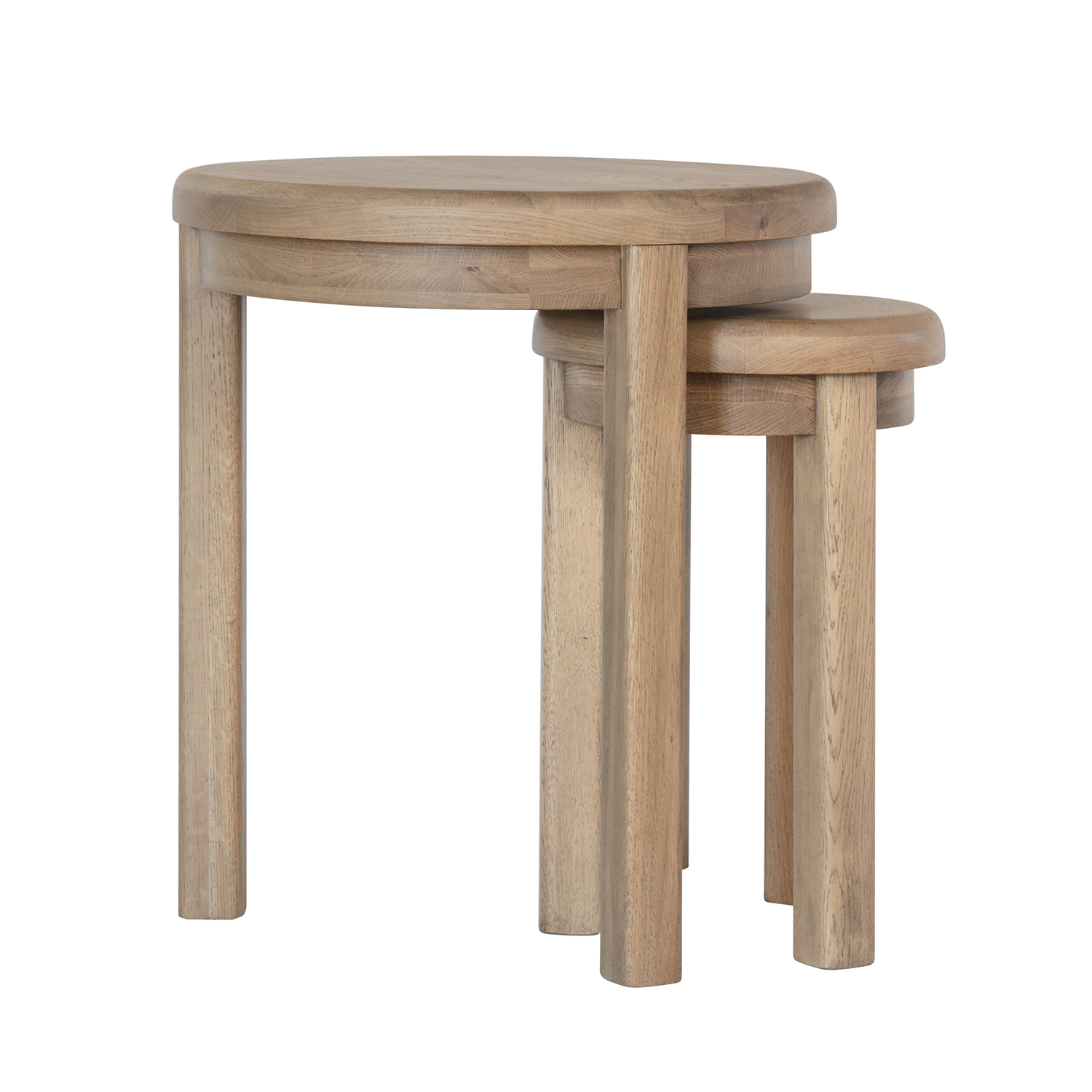 Heritage Oak Round Nest of Tables