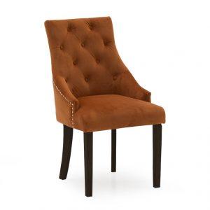 Hepburn Dining Chair - Velvet Pumkin Wenge Leg