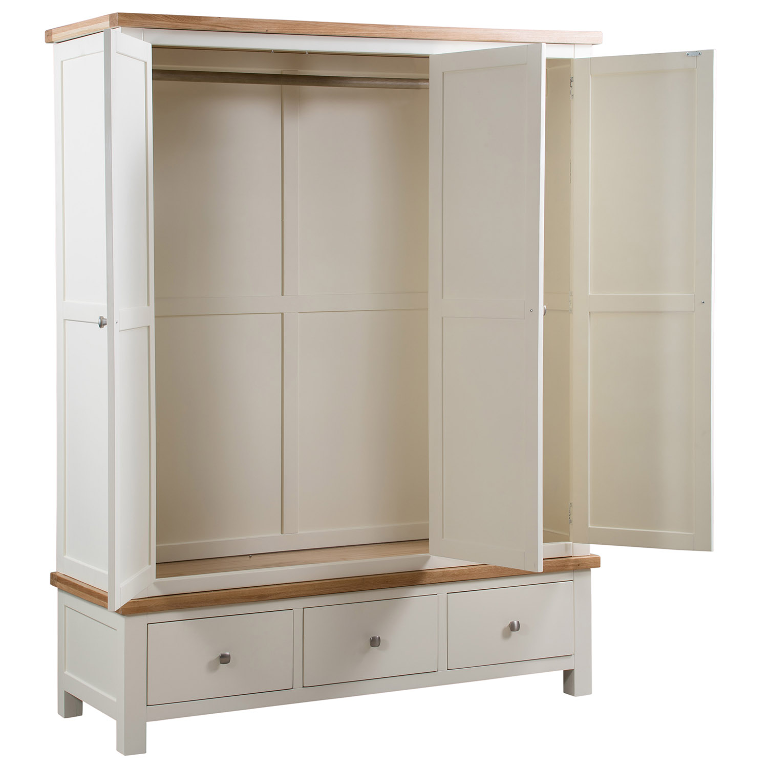 Maiden Oak Painted Triple Wardrobe with 3 Drawers