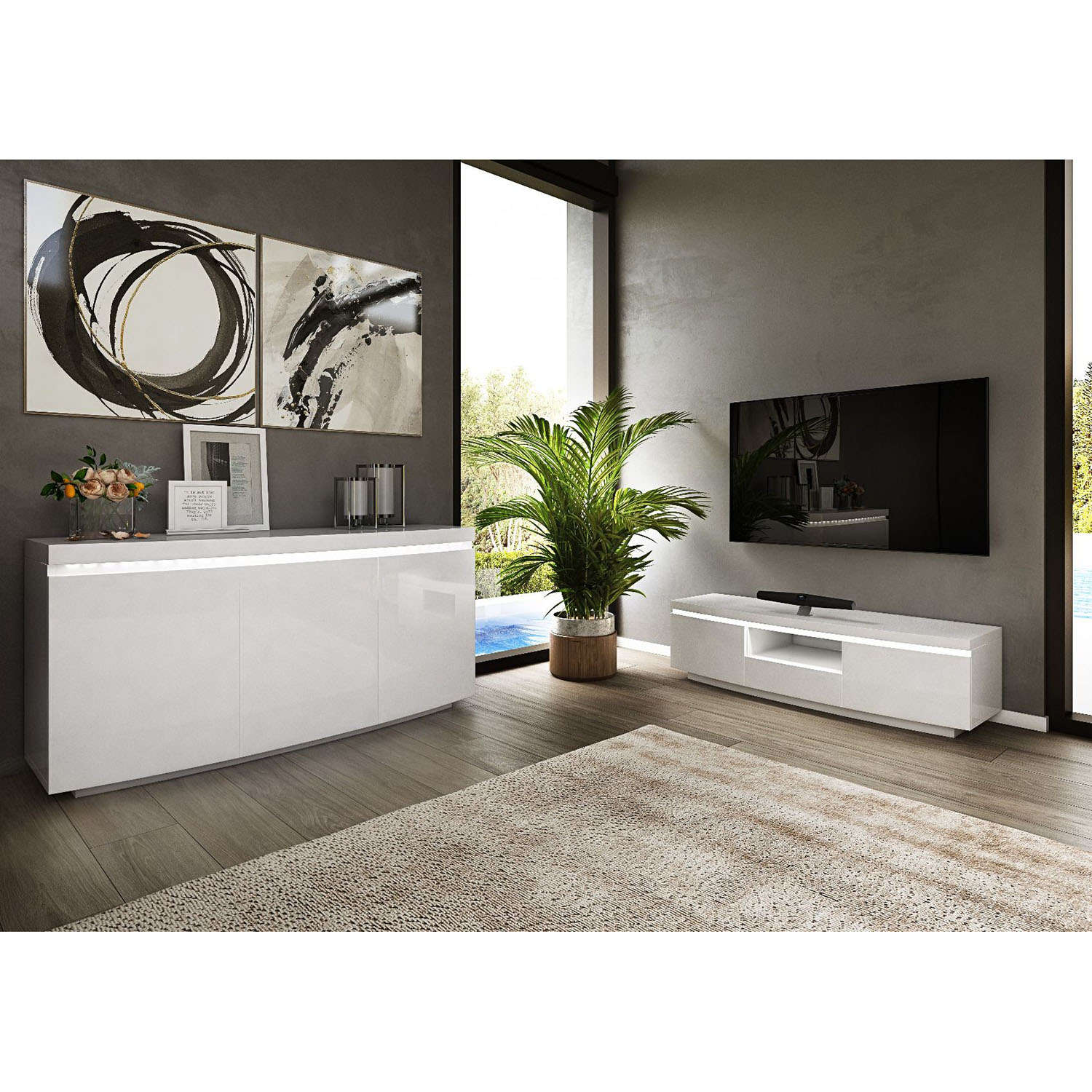 Prague 3 Door Sideboard with LED White