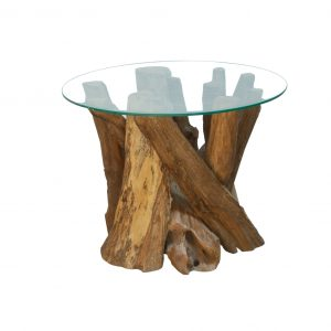 Ashdown Natural Teak Root Round Coffee Table with Glass