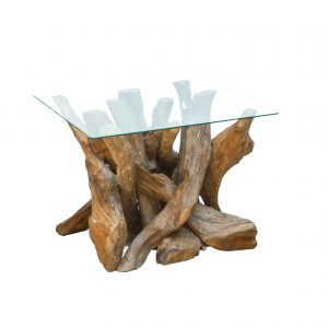 Ashdown Natural Teak Root Square Coffee Table with Glass
