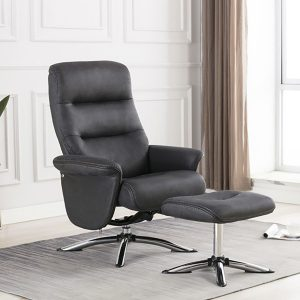Turin Swivel Recliner and Stool - Slate