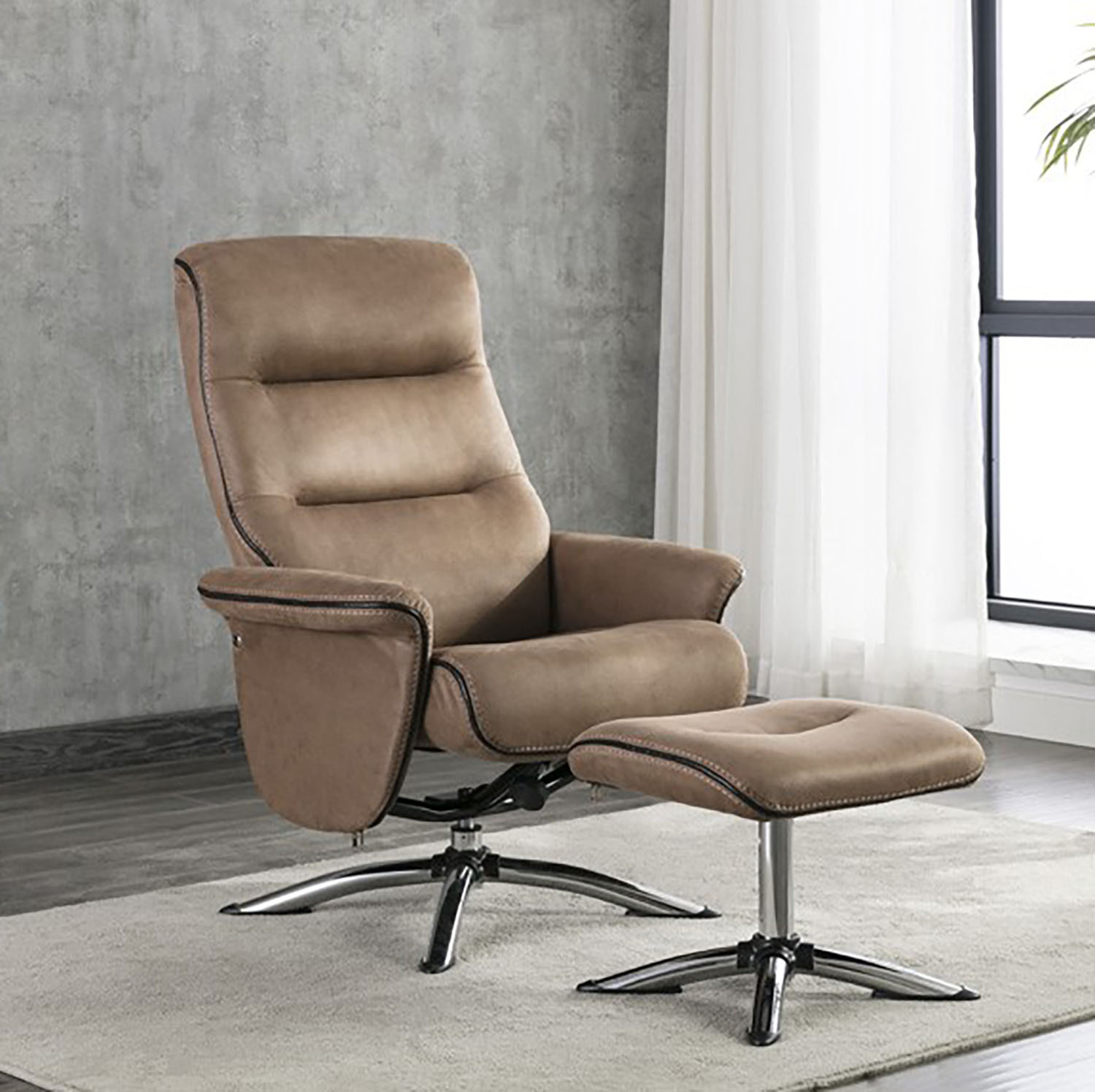Turin Swivel Recliner and Stool - Caramel