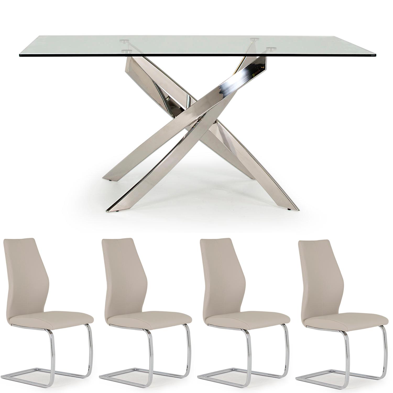 Caspian Rectangular Table & 4 Eclipse Taupe Chair Set