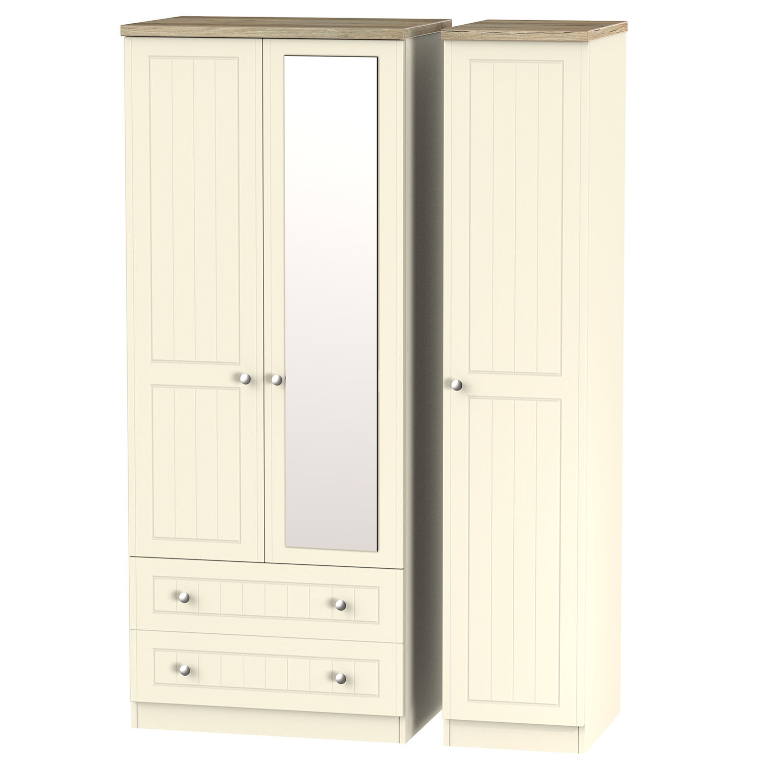 Vienna Triple 2 Drawer Mirror Robe