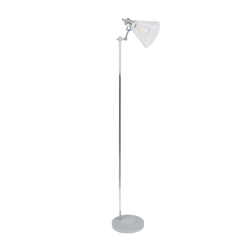 Concrete and Brushed Chrome Floor Lamp