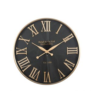 Antique Gold & Black Metal Wall Clock