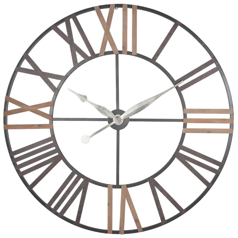 Antique Grey Metal & Wood Wall Clock