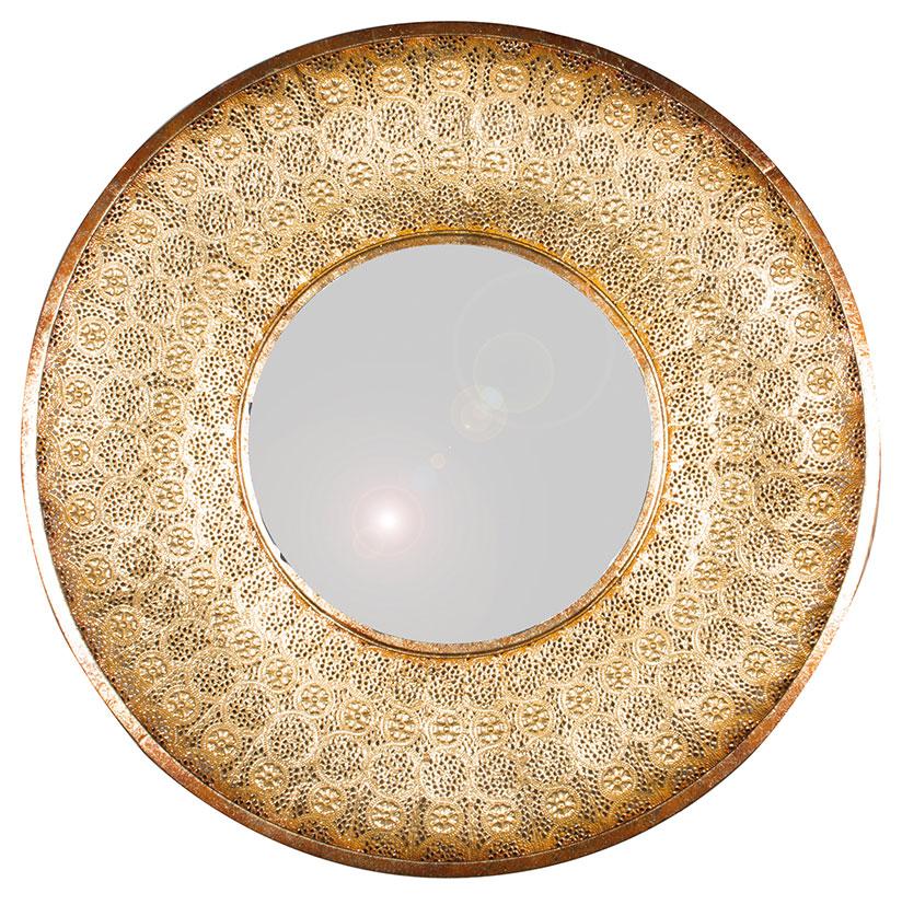 Gold Metal Round Mirror