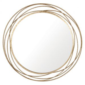 Antique Gold Metal Round Wall Mirror