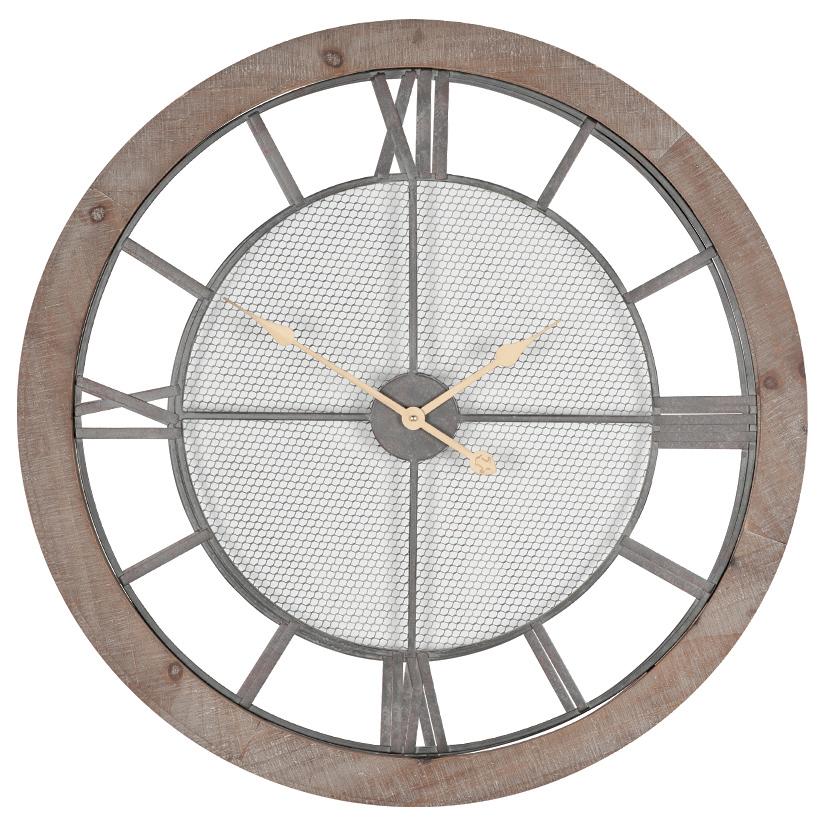 Natural Wood & Metal Wall Clock