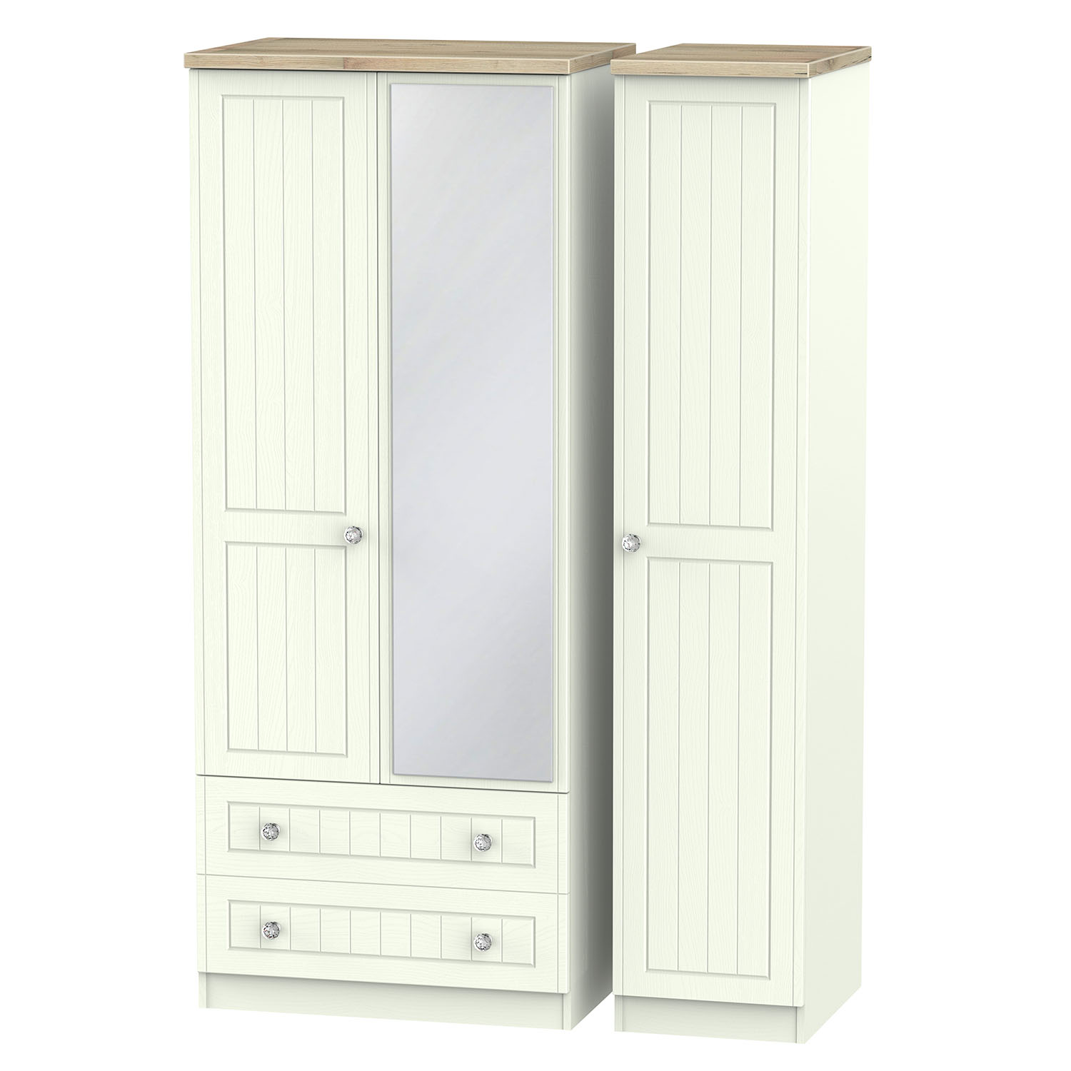 Rome Triple 2 Drawer Mirror Robe