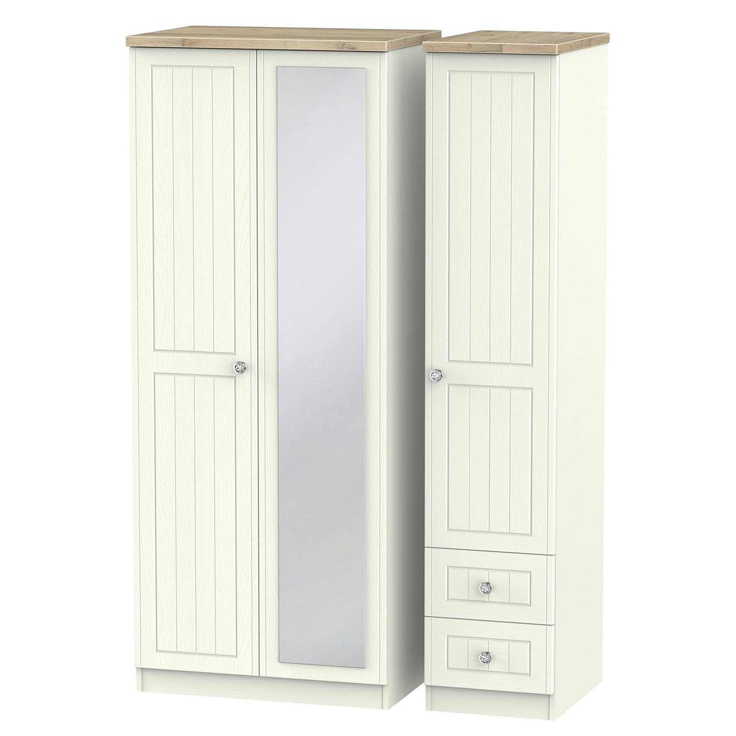Rome Triple Mirror Drawer Robe