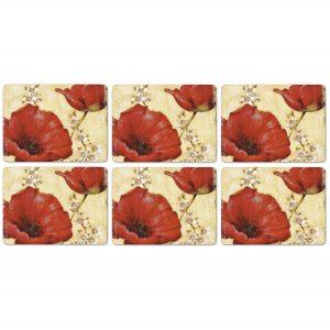 Pimpernel Poppy de Villeneuve Placemats Set of 6