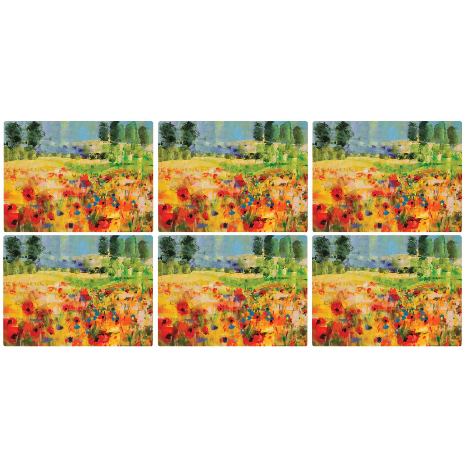 Pimpernel Impressionists Flowers Yellow Placemats Set of 6