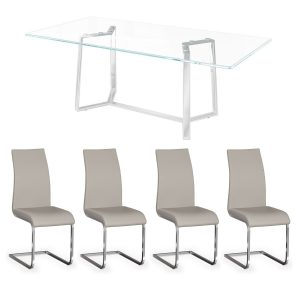 Cologne Glass Table and x4 Bucharest Grey Dining Chair Set