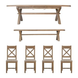 Heritage Oak 2.0m Table + Bench + x4 Cross Back Natural Chairs Set