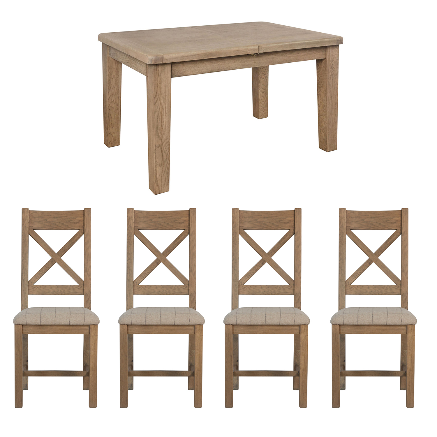 Heritage Oak 1.3m Table and x4 Cross Back Natural Chairs Set
