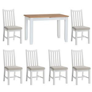 Hurstley Painted 1.2m Table and x6 Dining Chair Set