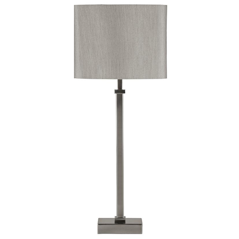 Satin Silver Metal Candlestick Table Lamp