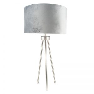 Brushed Silver Metal Tripod Table Lamp