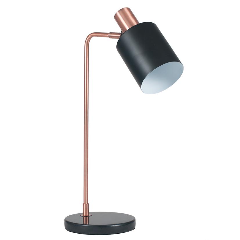 Black and Antique Copper Metal Lamp