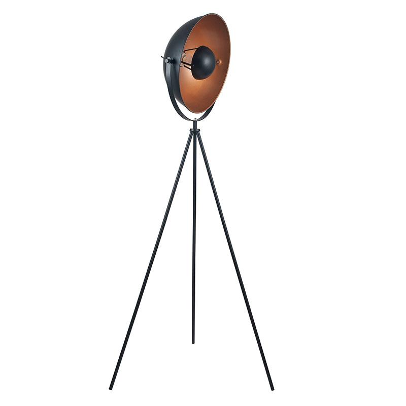 Black and Copper Diffused Tripod Floor Lamp
