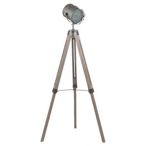 Grey Metal & Antique Wood Tripod Floor Lamp