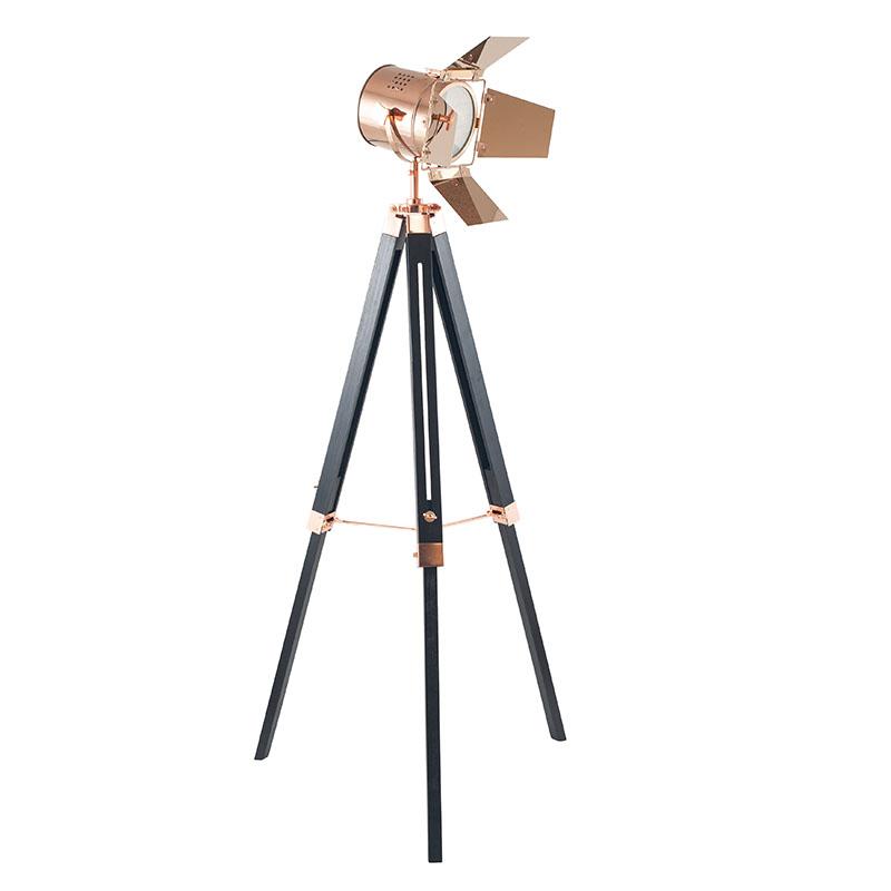 Copper and Black Tripod Floor Lamp