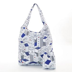 Foldable Shopper - Blue Houses