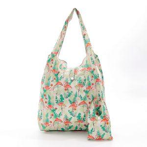 Foldable Shopper - Beige Flamingo