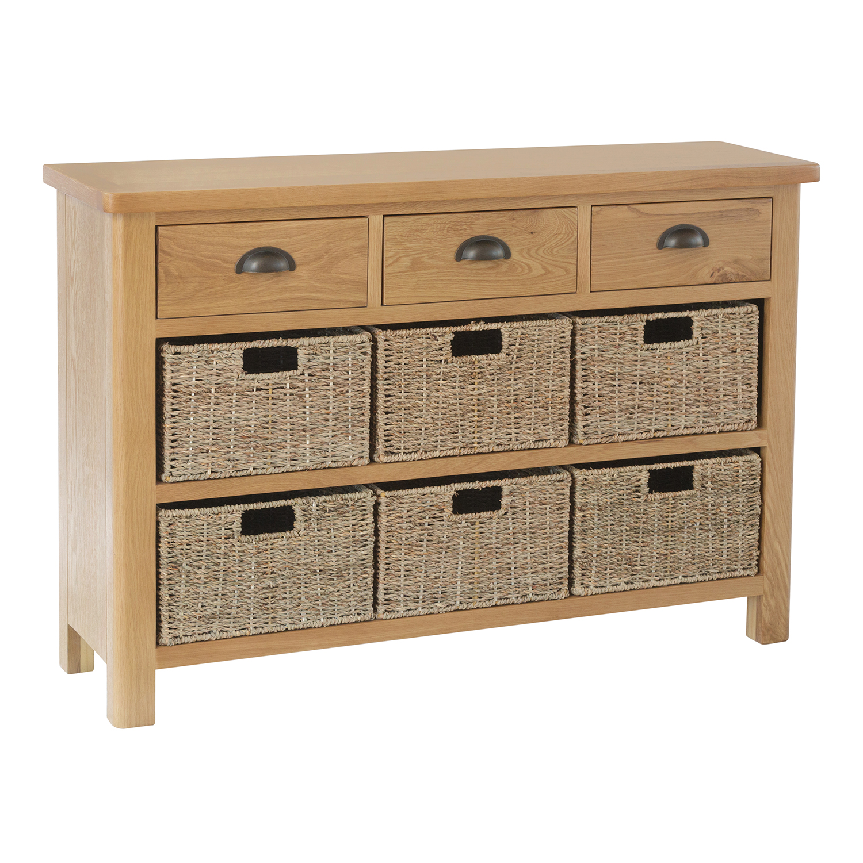 Chiltern Oak 3 Drawer 6 Basket Unit