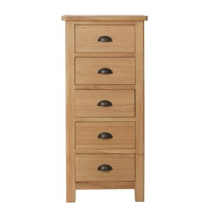Chiltern Oak 5 Drawer Narrow Chest