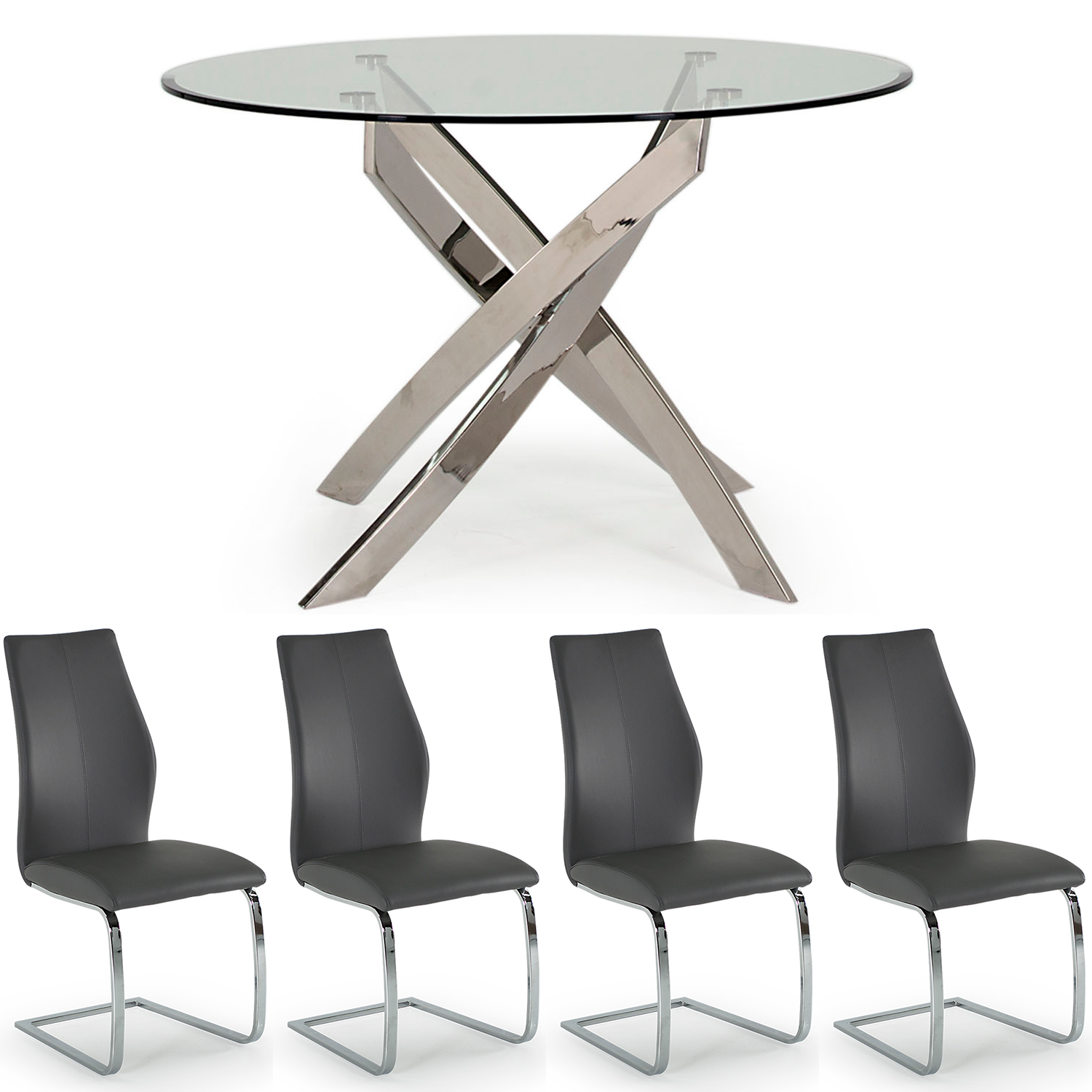 Caspian Round Table & 4 Eclipse Grey Chair Set