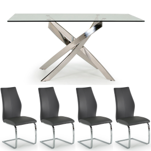 Caspian Rectangular Table & 4 Eclipse Grey Chair Set