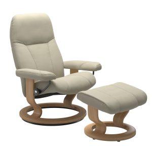 Stressless Consul Medium Chair & Stool - Batick Cream with Oak Classic Base