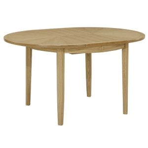 Nathan Shades Oak Circular Dining table on legs with sunburst top 2905