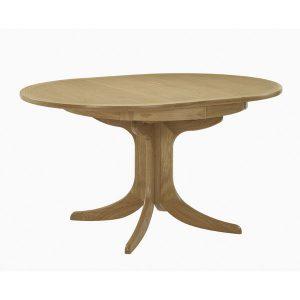 Nathan Shades Oak Extending Boat Shaped Pedestal Dining table 2175