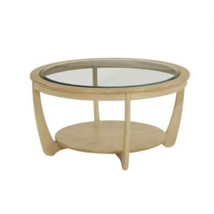 Nathan Shades Oak Glass Top Round Coffee Table - 5915