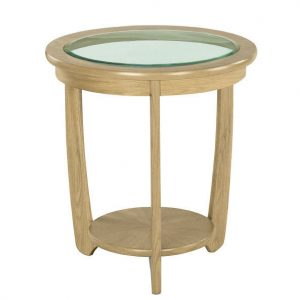 Nathan Shades Oak Glass Top Round Lamp Table - 5815
