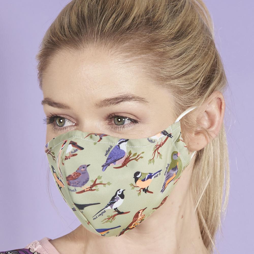 Eco Chic Reusable Face Cover Green Wild Birds