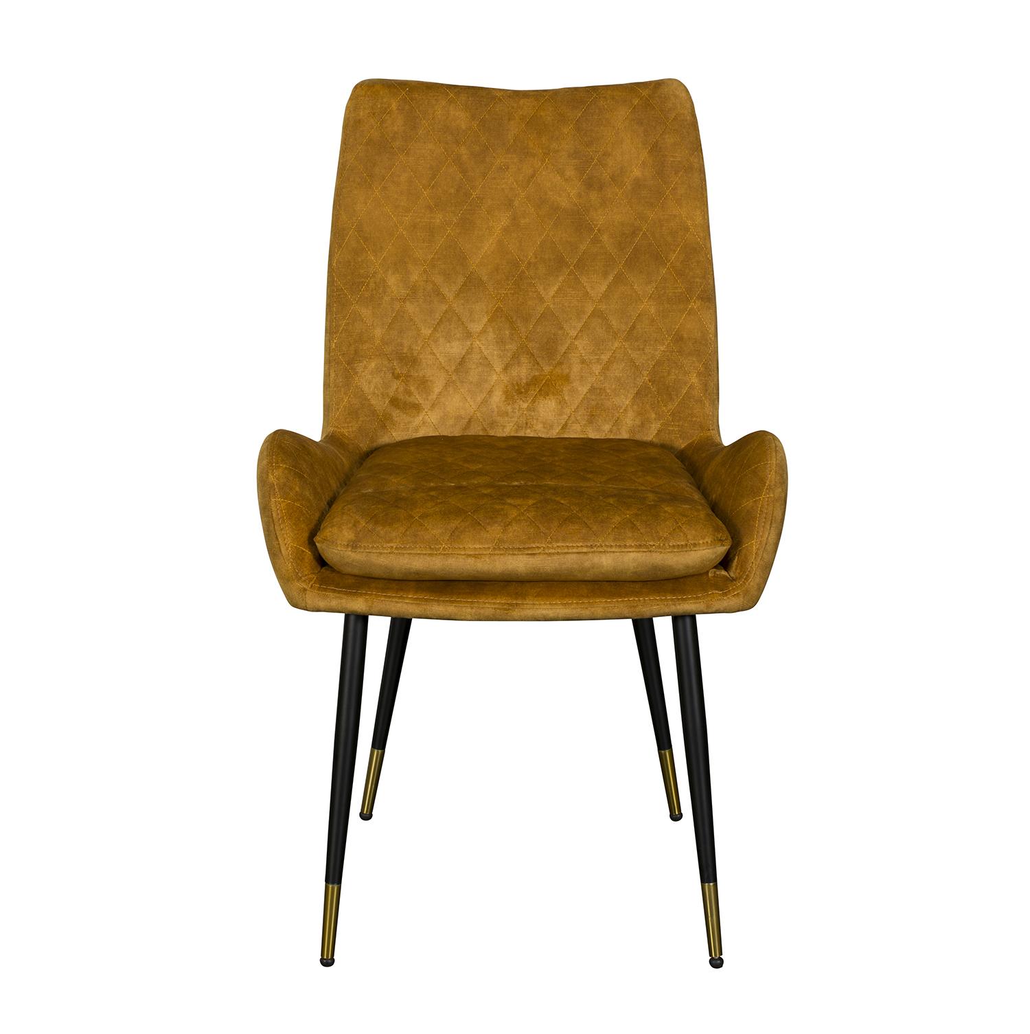 Sarah Dining Chair - Yellow Velvet