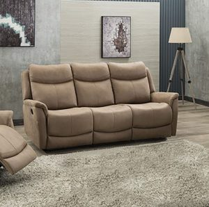 Ancona 3 Seater Manual Recliner - Caramel