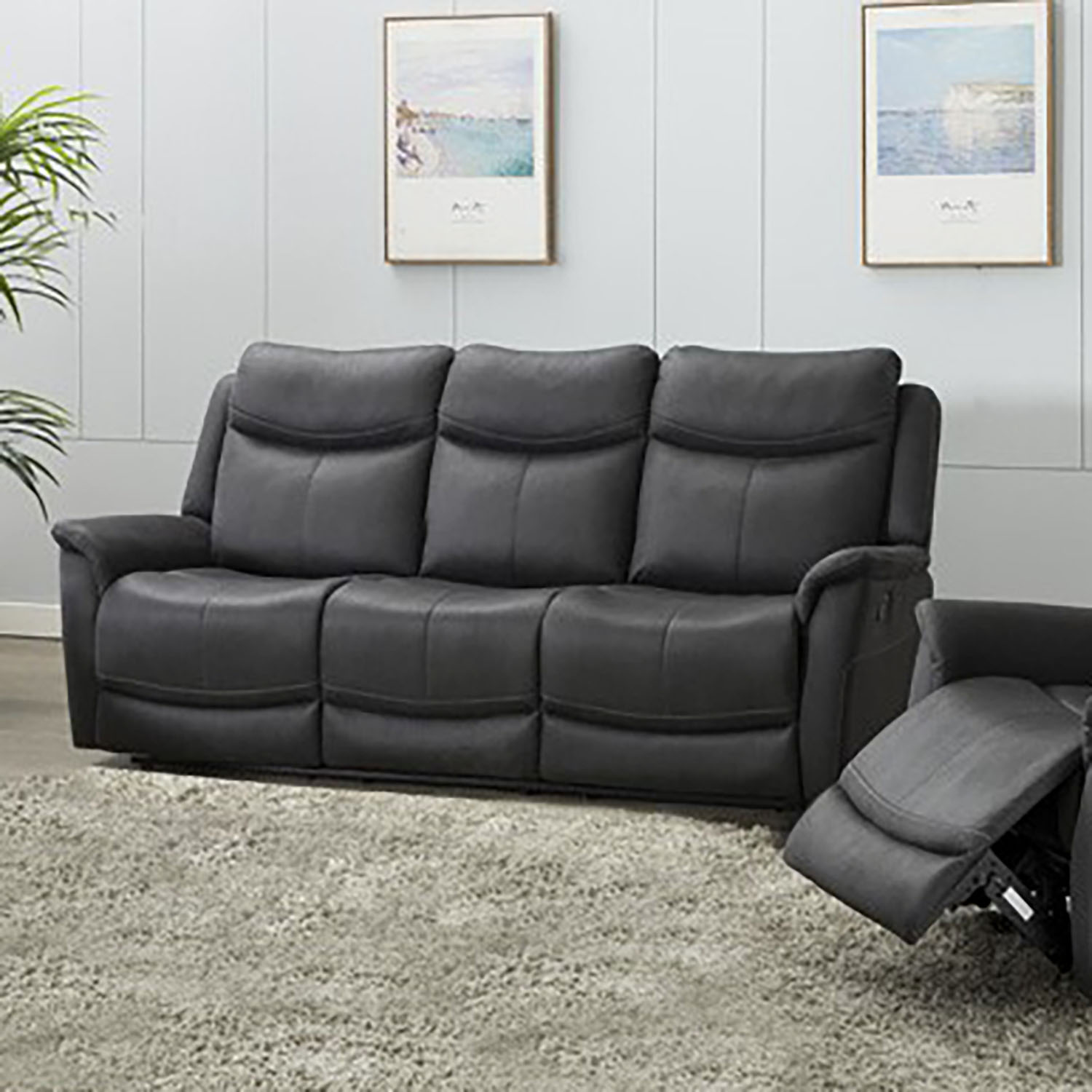 Ancona 3 Seater Manual Recliner - Slate