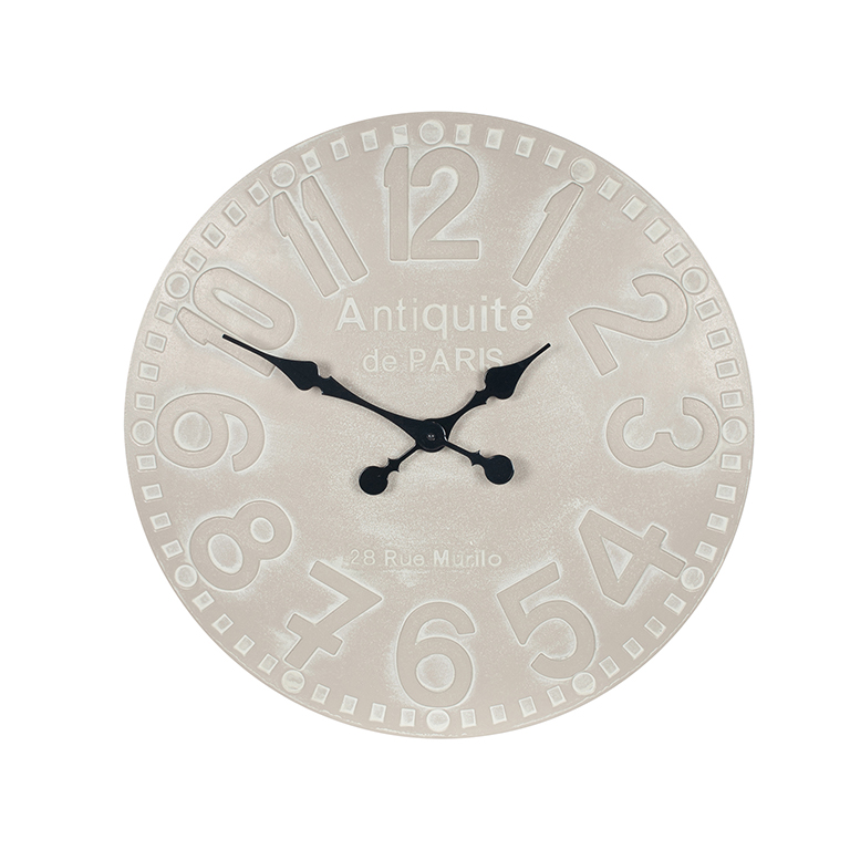 Dove Grey Wood Round Wall Clock