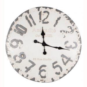 Antique White & Grey Round Wall Clock