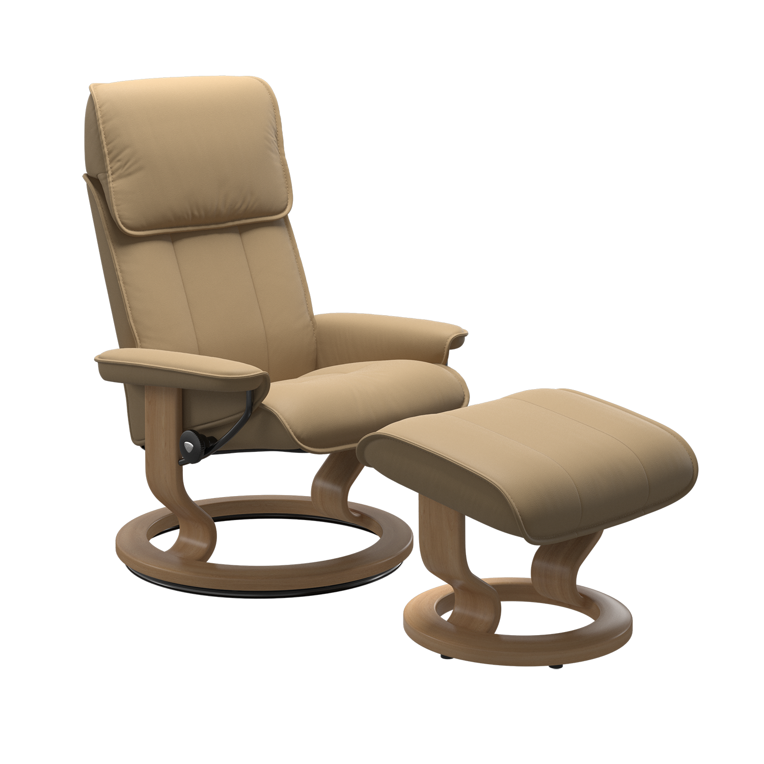 Stressless Admiral Medium Chair & Stool - Paloma Sand/Oak Base